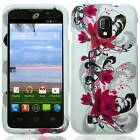 FOR ZTE MAJESTY Z796C HARD PLASTIC ACCESSORY GLOSSY CASE PHONE COVER RED FLOWERS