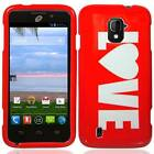 FOR ZTE MAJESTY Z796C HARD PLASTIC ACCESSORY GLOSSY CASE PHONE COVER RED LOVE
