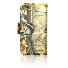iPHONE 4 4S BROWN CAMO REALTREE OAK WALLET LEATHER CASE w/ ID CREDIT CARD SLOT