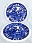 2 Copeland Spode Tower Salad Plates Blue Gadroon Older Mark Full Flowers # 42 As