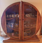 FRENCH ART DECO VINTAGE AMBOYA BURL WOOD DISPLAY CABINET WITH GLASS DOORS