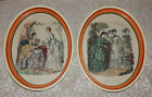 Vtg PAIR of Gesso Composite OVAL PICTURE FRAMES French La Mode Fashion PRINTS