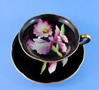 Handpainted Purple Orchid on Black Japan Tea Cup and Saucer Set