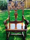 Beautiful Throne Armchair W/ Carved Eagles,Lion Mask,& Ram Head Finals, NR!