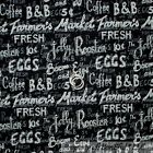 BonEful Fabric FQ Cotton Quilt Black White BW Word Rooster Coffee Farm Egg Sale