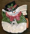 Omnibus OCI Fitz and Floyd Ceramic Christmas Snowman Snow Gentleman Plate Rare