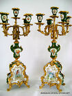 PR ANTIQUE FRENCH SEVRES DORE BRONZE ORMOLU HP PORCELAIN FOLIATE CANDELABRA 19 C