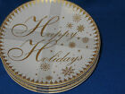 222 FIFTH FESTIVE HOLIDAYS GOLD APPETIZER PLATE S/4 HAPPY HOLIDAYS