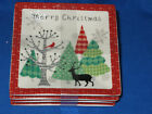 222 FIFTH MERRY TREES APPETIZER PLATE S/4 MERRY CHRISTMAS