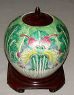 1800's Chinese Export Famille Verte Ginger Jar With Floral & Butterflies Motif