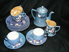 Vintage Blue Lusterware 2 Cup Teapot Creamer 4 Plates 2 Saucers 4 Cups Japan