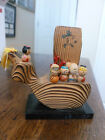 Seven Immortals Miniature Figurines - Painted Wood - 7 Figures in a Boat-Kokeshi