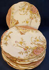 6 Antique 19thC Wileman & Co Cake Bread Plate Early Shelley Peach Gold Flowers