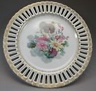 Ucagco China Occupied Japan Reticulated Cabinet Plate Pink Flower Porcelain 1