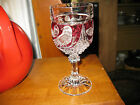 Vintage Ruby Red Hofbauer Germany Clear Cut Crystal Bird Wine Goblet
