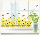 Sunflower Fence Butterfly Window Decor Wall Stickers Vinyl Removable Decal Mural
