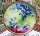 ANTIQUE LIMOGES CORONET BM DE M FRANCE PURPLE FLOWERS W/ GOLD 11 3/4