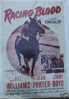 RACING BLOOD 1954 HORSE RACING MOVIE ONE SHEET 27x41 ON LINEN
