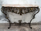 Fantastic Antique 1930 French Rococo Wrought-Iron With Marble Top Console