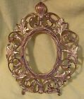 Antique Victorian Ornate Rococo Gilt Gold  Metal Picture Frame Oval w/ stand