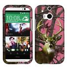 Pink Camo Deer Leaves Tuff For HTC One M8 Cover Case Snap on Protector
