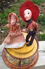 ANTIQUE TIN LITHO SQUARE DANCING TWINS MUSIC BOX by BOB ROUTLEDGE for MATTEL