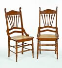 SIX MAPLE CANE SEAT CHAIRS.
