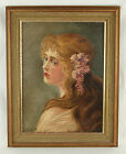 1915 Oil Painting Art Nouveau Portrait of Pretty Girl with Flowers in Hair