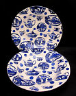 2 Coupe Soup Bowls Burgess & Leigh PICTORIAL BRITAIN Blue White Dinnerware