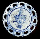 LOVELY VINTAGE DECORATIVE BLUE TRANSFERWARE FLORAL RETICULATED DISH PLATE