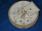 222 FIFTH FESTIVE HOLIDAYS GOLD APPETIZER PLATE S/4