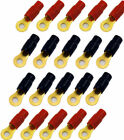 20 Pack 0 1/0 AWG Gauge gold Wire Crimp Cable Ring Terminal Red Black Boots 5/16