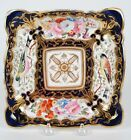 ANTIQUE COALPORT HAND-PAINTED SQUARE DISH WITH FLOWERS AND BIRDS C. 1820'S
