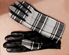NWOT WOMEN'S GENUINE LEATHER GLOVES WOOL PLAID GRAY BLACK FLANNEL LINING SZ.S/M