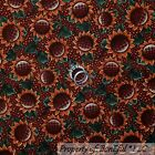 BonEful Fabric FQ Cotton Quilt Maroon Brown S Burgundy Sun*Flower Gold Polka Dot