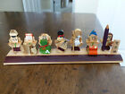 Seven Immortals Miniature Figurines - Painted Wood - 7 Figures on a Plank