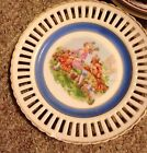 Vintage Wales Hand Painted Plate Lace Gold Trim JAPAN Lady And Man With Sheep
