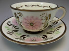 Vintage HP Old Castle English Tea Cup Saucer Set Copper Luster Pink Daisy