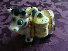 Vintage Ceramic Cow Bull w Salt and Pepper Shaker Barrells Free Domestic Ship