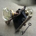 Vintage Pair Of Clear Cut Glass Door Knob Set With Brass Back Plates Lock+key