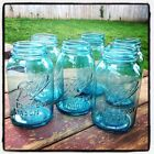 One (1) Vintage Blue Ball Perfect Mason Quart Jar - Off-Center Lettering