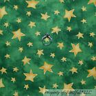 BonEful Fabric Cotton Quilt Green Gold Xmas Tree Tone Star Harry Potter Lg SCRAP