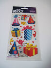 Scrapbooking Stickers Crafts Sticko Party Hats Presents Birthday Gifts Glitter