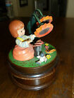 Vintage Reuge Wood Music Box - 'Edelweiss' - Girl/Butterfly/Bird/Flowers - Spins