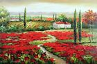 Tuscany Italian Homes Red Poppies Family Farms Stretched 24X36 Oil Painting Art