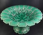 Beautiful Sarreguemines French Majolica Green Leaf Grape Vine Large Center Bowl