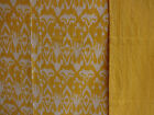 Yellow Single Print Ikat Cotton Kantha Quilt, Handmade Queen Size Bedspread
