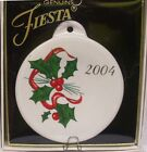 Fiesta Ware HOLLY AND RIBBON  Christmas Ornament 2004 RETIRED NEW IN GIFT BOX