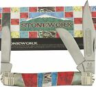 ROUGH RIDER Stoneworx Pearl Stone STOCKMAN Pocket Knife RR1419 Handles Mother of
