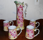 BEAUTY! Limoges Porcelain Tankard Pitcher 4 Mugs Hand Painted Cider Wine Juices